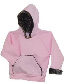 Girl's Infant/Toddler Pink Hooded Sweatshirt with Mossy Oak Camo Trim - 6-12 mos.