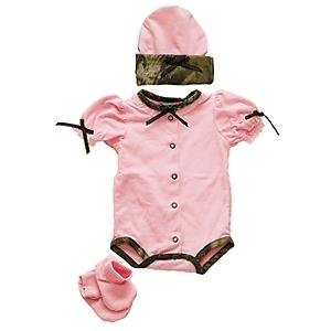 Bonnies Girls Onesie Set 3-6M Pink/Camo Trim