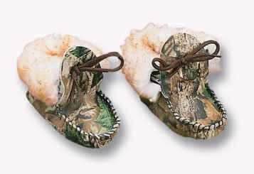 Weber's Camo Leather Baby Moccasins with Wool