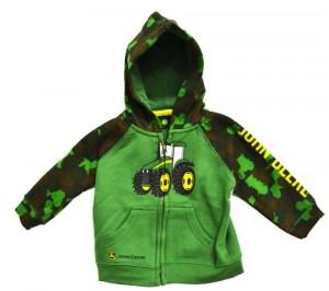 John Deere Infant Tractor Zip Front Hooded Sweatshirt Camo Green (12 Month)