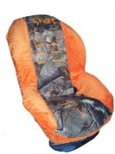 Custom Toddler Car Seat Cover- Sew Precious Baby- Camo & Orange Minky!