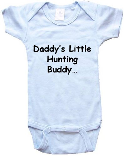 DADDY'S LITTLE HUNTING BUDDY - BigBoyMusic Baby Designs - Blue Onesie / Baby T-shirt - size Small (6-12M)
