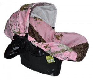 Infant Car Seat Cover, Baby Car Seat Cover, Slip Cover- Pink Camo with Brown Minky Dot!