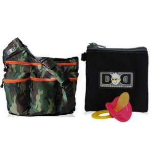 Bundle - 2 Items: Diaper Dude Original Messenger Bag (Color: Camo) + Diaper Dude Pacifier Holder (Color: Black)