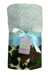 "Patricia Ann Designs Camo Stroller Blanket - Sky Blue Chnl with Sky Blue Satin Binding - 26""x38"""