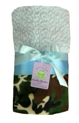 "Patricia Ann Designs Camo Stroller Blanket - Sky Blue Chnl with Sky Blue Satin Binding - 26""x38"""