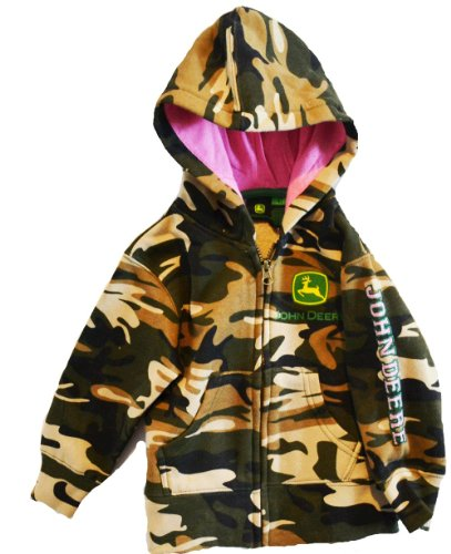 John Deere Toddler Girls Camo Hooded Zip Sweatshirt with Pink (3T)