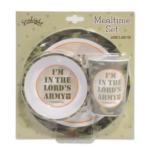 Gregg Gift Sonlight 3-Piece I'm in the Lord's Army Melamine Dinnerware Set, Camo