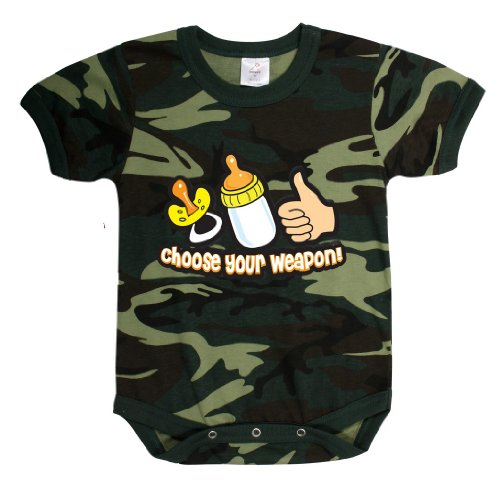 INFANT ONE-PIECE / CHOOSE YOUR WEAPON - WOODLAND CAMO, Size 3-6 Months