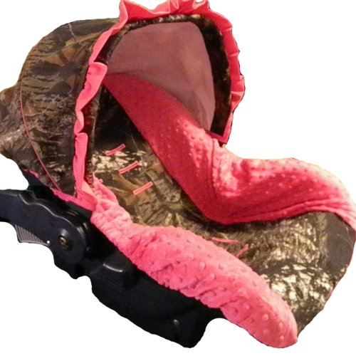 Infant Car Seat Cover, Baby Car Seat Cover, Slip Cover- Camo with Fuschia Minky!