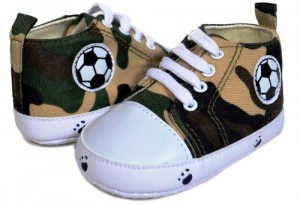 Baby Boy Camo Print Football & Pawprint Design High Top Sneaker Shoe By Twinkie Medium