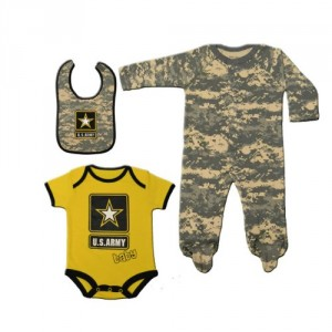 #2720 3pc Army ACU Camoflauge Baby Set: Army Logo Bib, Outfit, & Crawler 9-12 Months