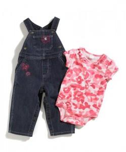 Carhartt Denim Overalls Amp Pink Camouflage Bodysuit Set