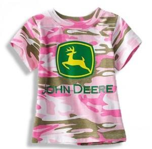 Pink Camo Tee, John Deere Tractor Little Girls Toddler Tshirt, Pink Camoflauge (2T)