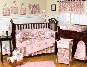 Khaki and Pink Camo Camouflage Military Baby Girl Bedding 9pc Crib Set