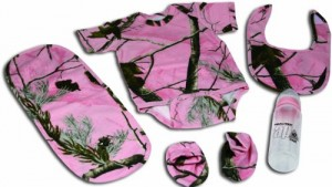 River's Edge 5-Piece Baby Onsey, Bib, Pad, Booties, and Bottle Combo Pack (Camo Pink, 0-6 Months)