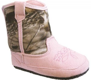 Pro Line Infant Girls' Cowgirl Booties,Pink/Realtree/Hardwoods Grey,1 M US