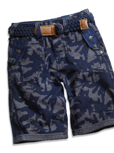 GUESS Kids Boys Little Boy Taylor Belted Camo Shorts, NAVY (3T)