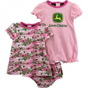 John Deere Baby Girl Pink Camo / Tractor Romper & Dress SET ~ 3-6 Mo.