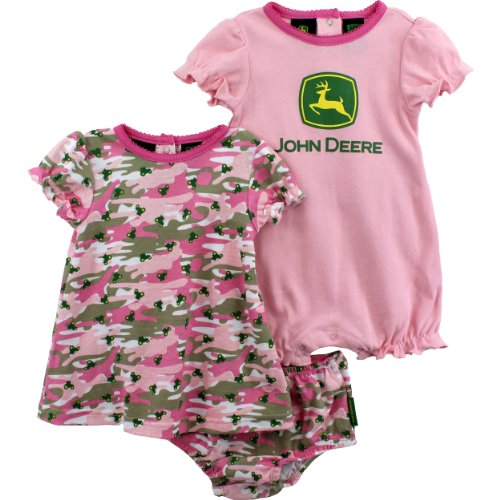 John Deere Baby Girl Pink Camo / Tractor Romper & Dress SET ~ 3-6 Mo.