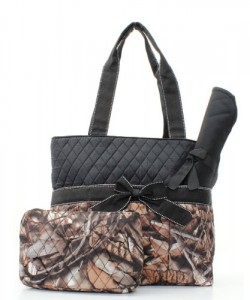 Natural Camo Quilted Diaper Bag