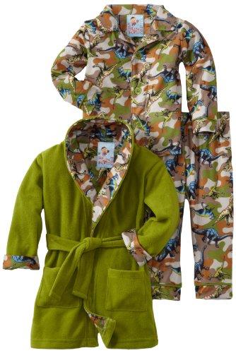 Baby Bunz Baby-boys Infant LB Dino Camo Robe and Pajama Set, Multi, 24 Months