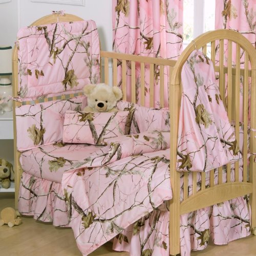 Realltree AP Pink Crib Bedskirt